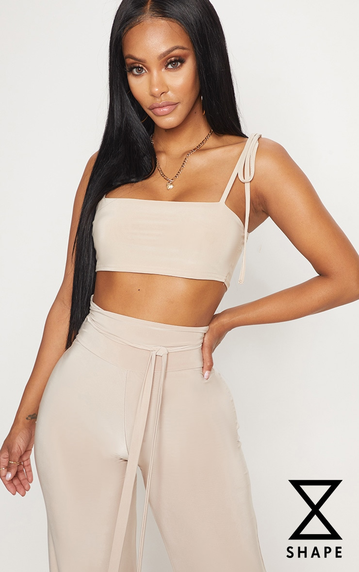 Shape Stone Slinky Straight Neck Crop Top