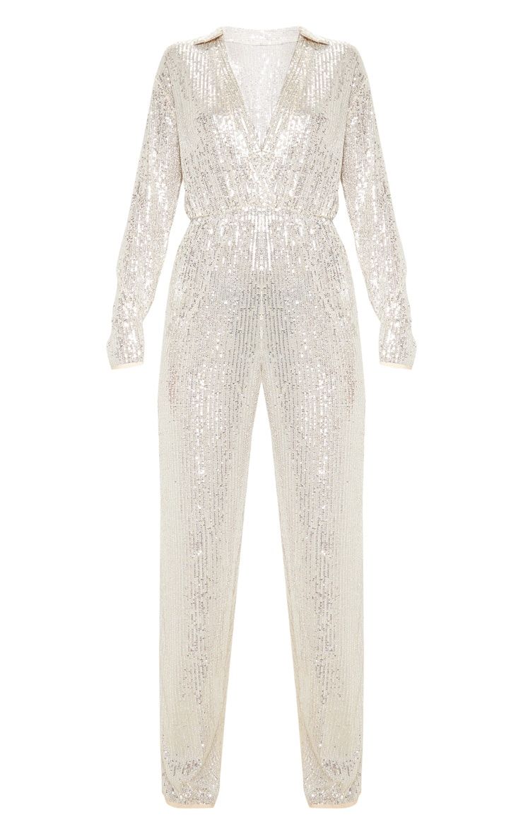 Silver Sequin Collar Detail Long Sleeve Jumpsuit 3