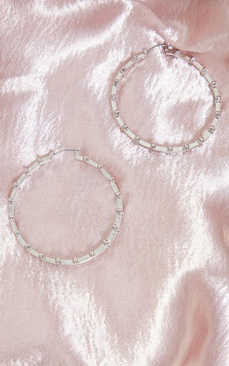 Créoles argentées chunky à perles 2