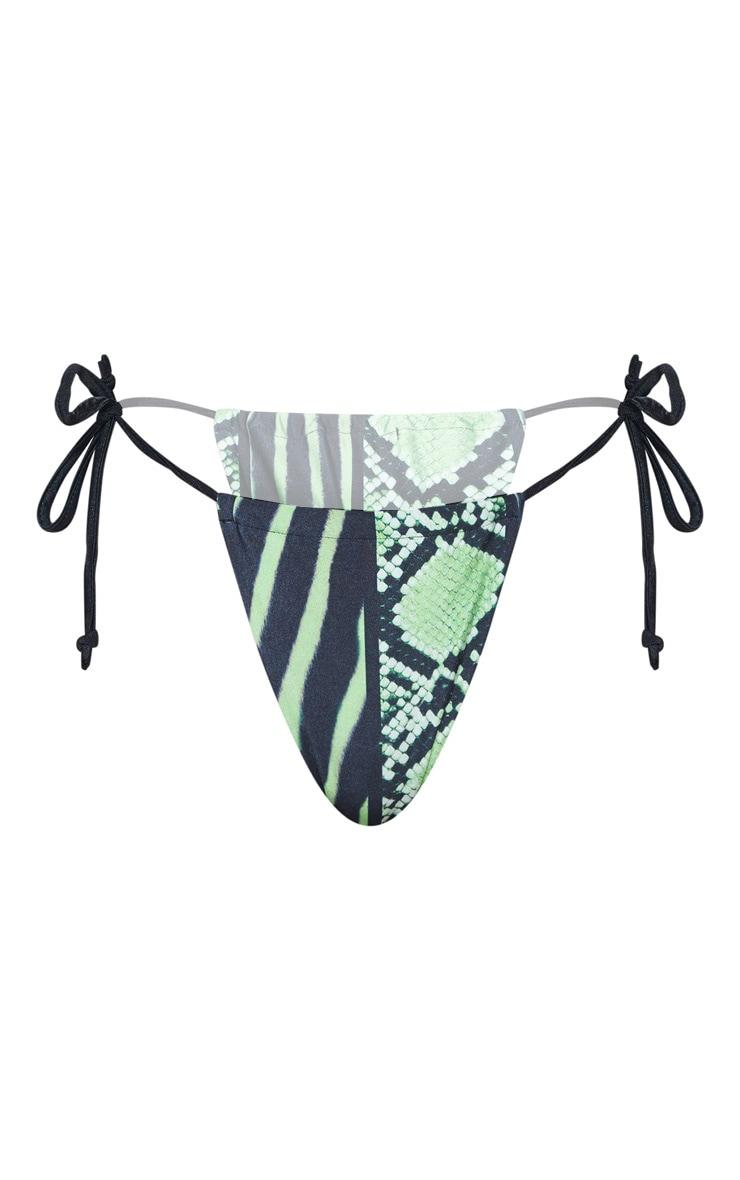 Lime Snake Print Tie Side Bikini Bottom 4