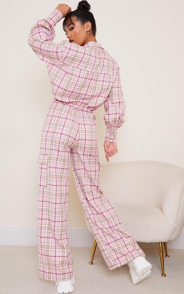 Pink Check Pocket Wide Leg Shirt Jumpsuit 2