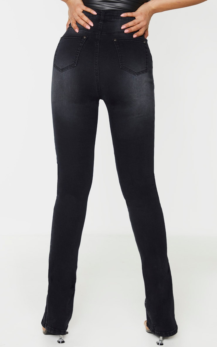 Tall Black Split Front Skinny Jeans 4