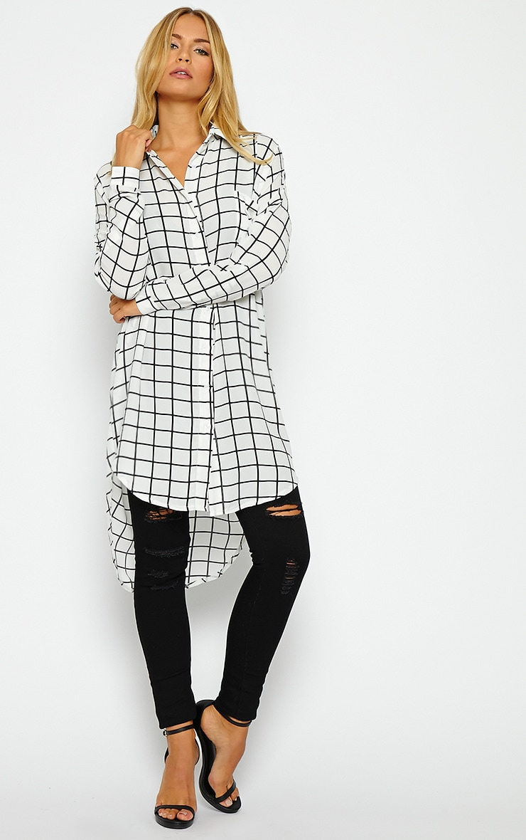 Rhona White Check Shirt Dress 1