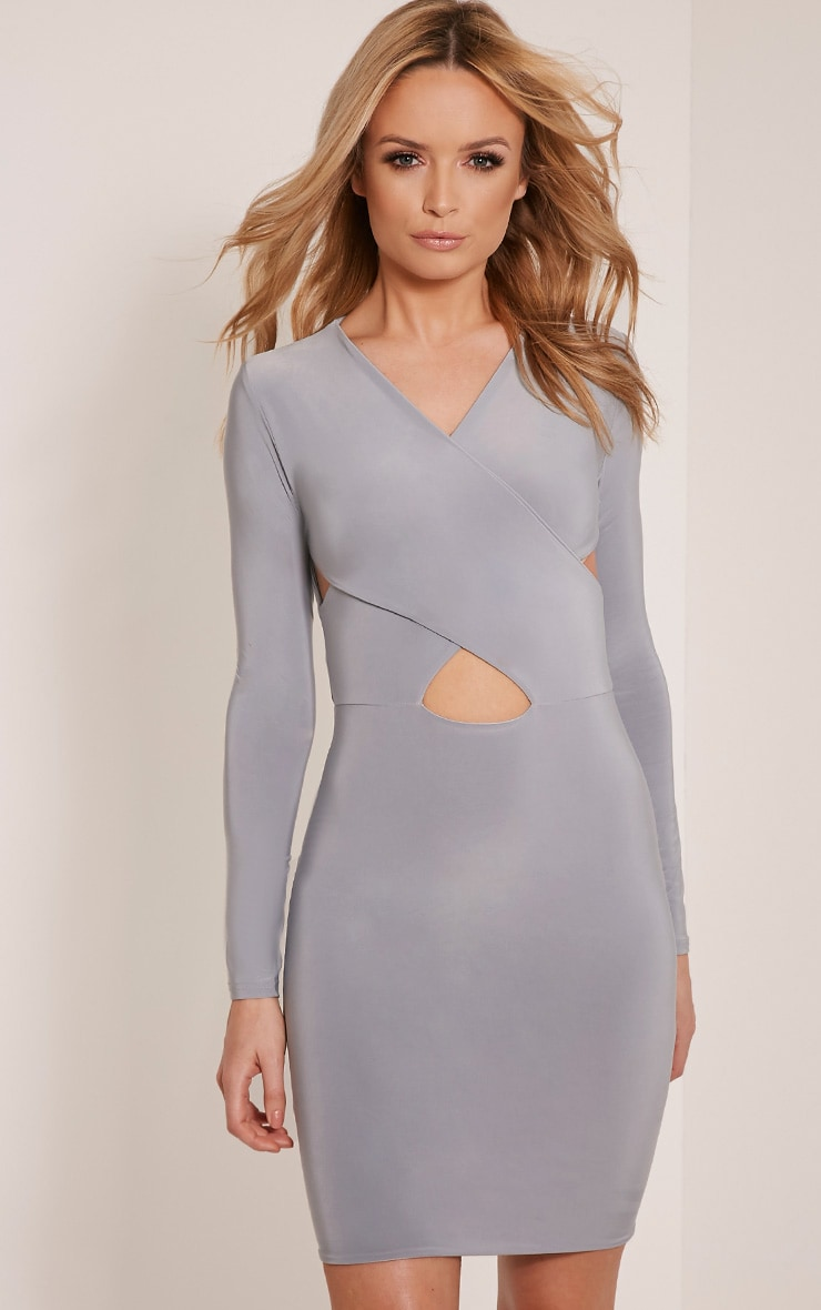 Tamaya Grey Long Sleeve cross front Bodycon Dress 1