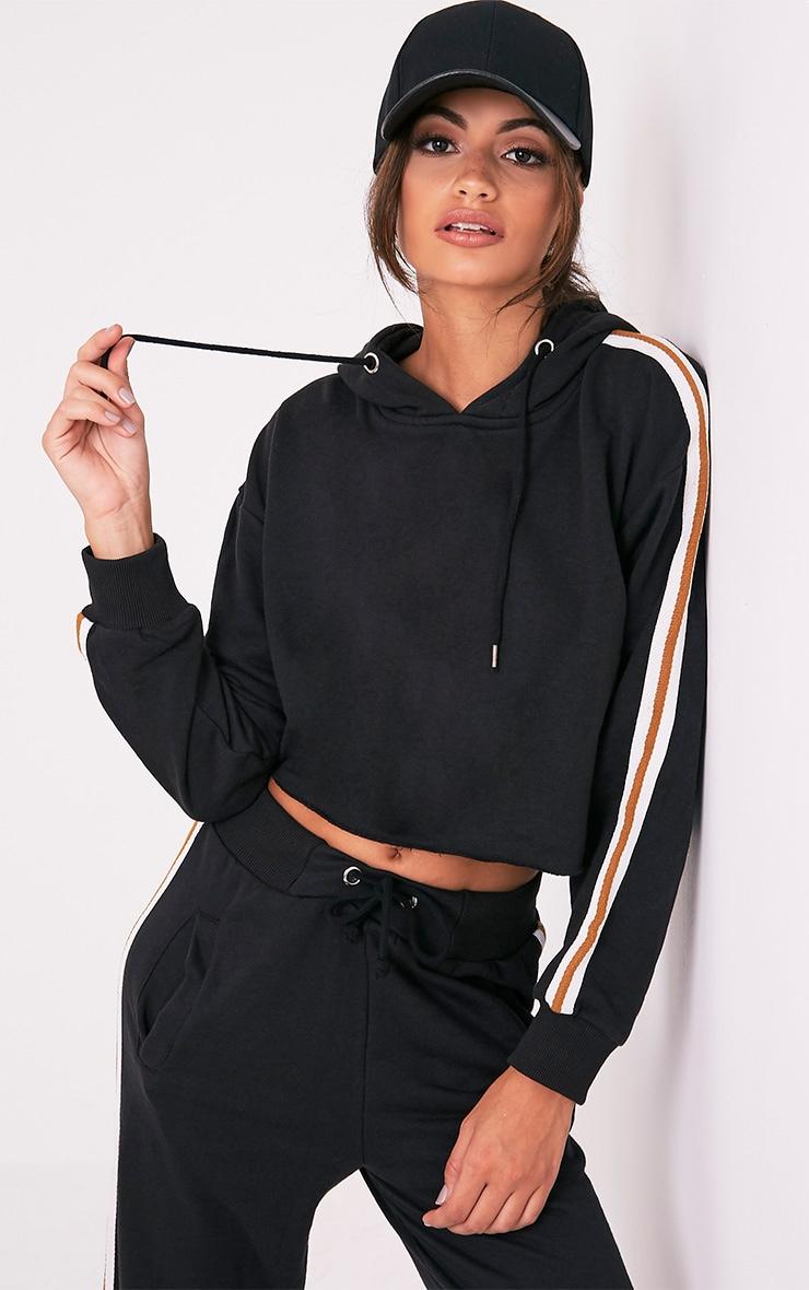 Black Side Stripe Hoodie 1