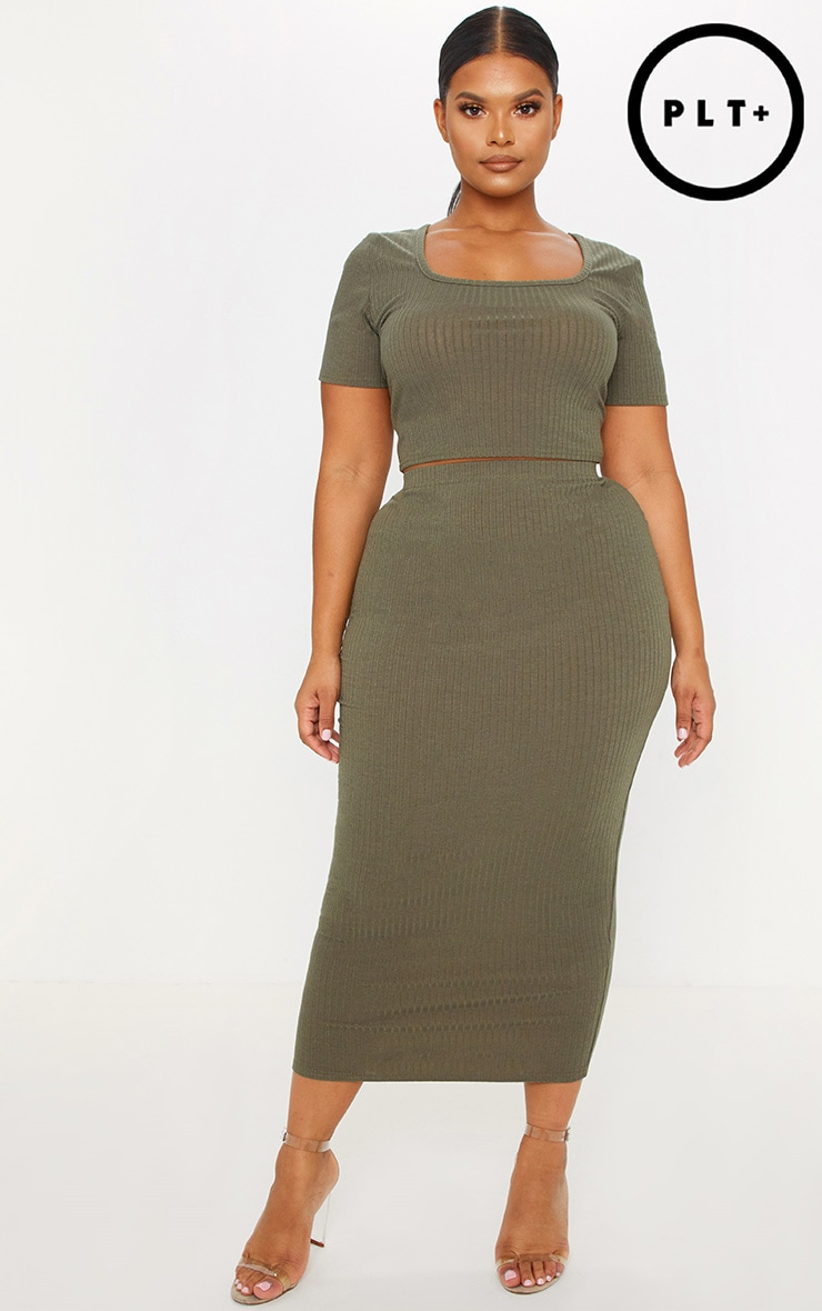Plus Khaki Rib High Waisted Midi Skirt