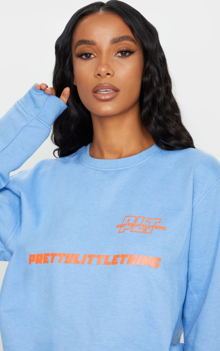 PRETTYLITTLETHING Blue Slogan Oversized Sweater 4