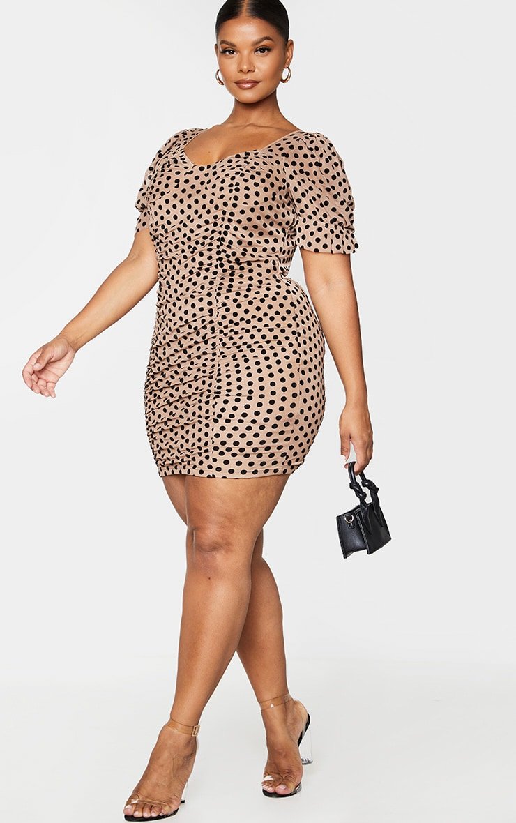 Plus Brown Polka Dot Short Sleeve Mesh Ruched Bodycon Dress 1