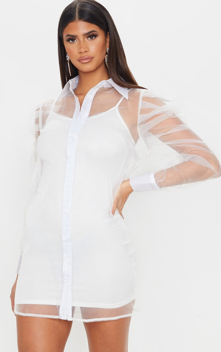 White Puff Shoulder Organza Shirt Dress 1