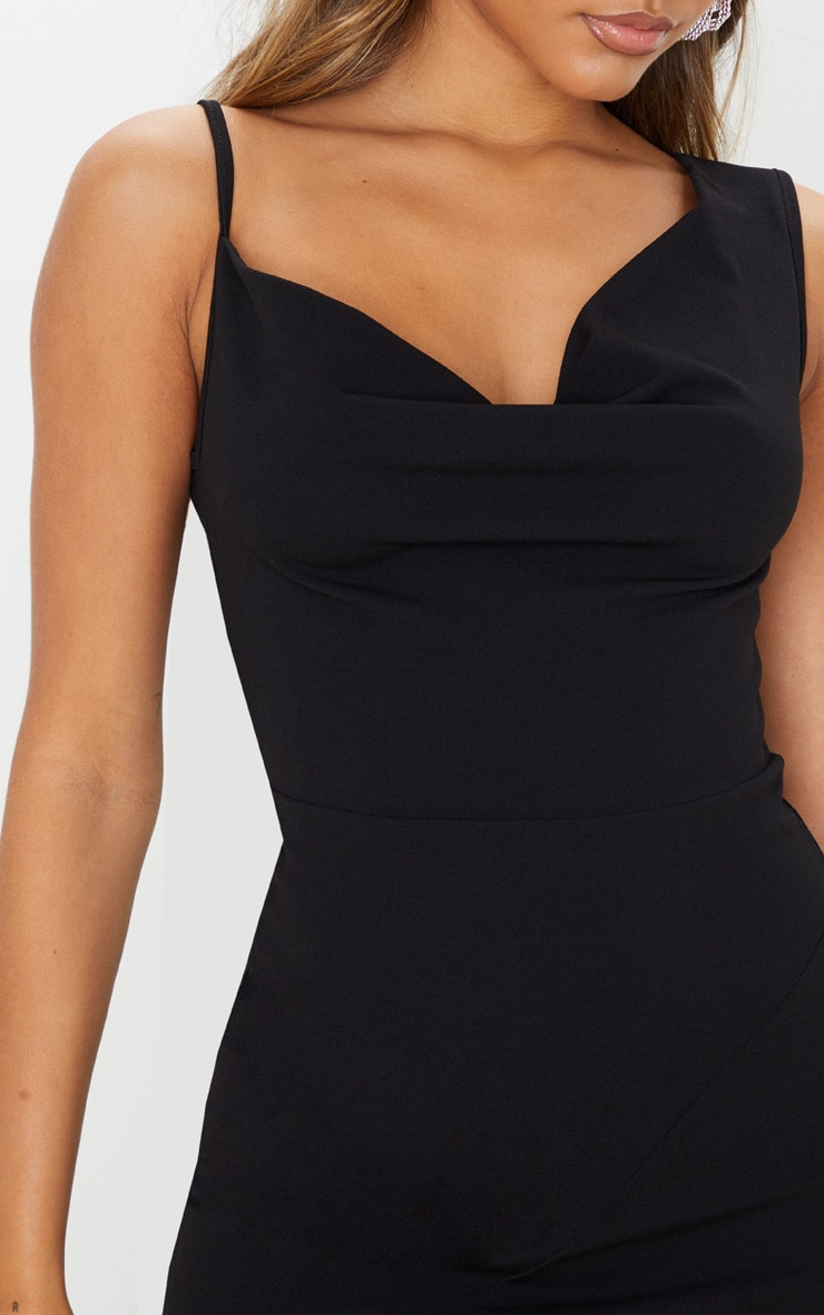 Black Asymmetric Cowl Neck Maxi Dress 5