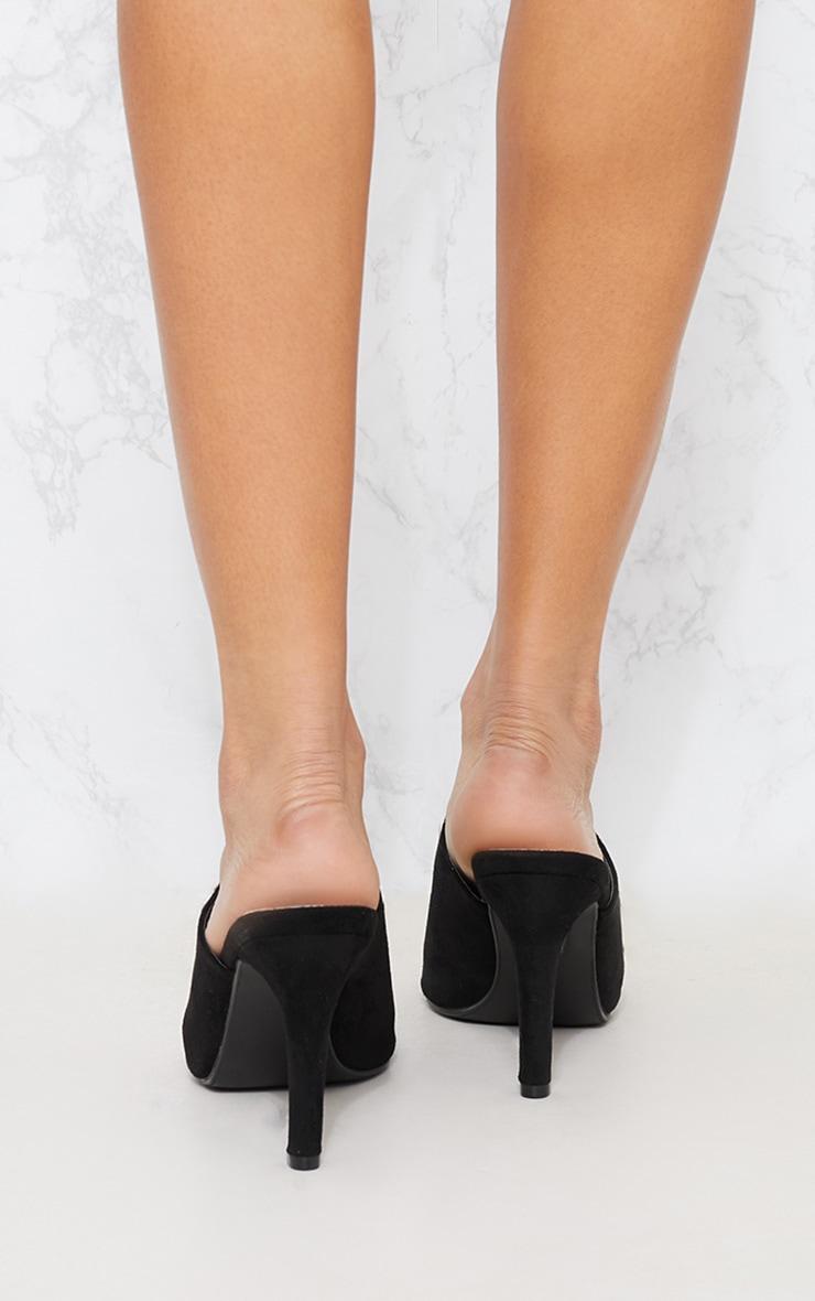 Black Faux Suede Heeled Mule Sandal 3