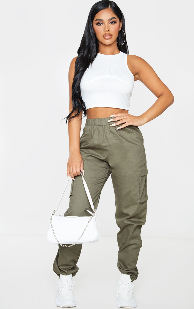 Petite - Pantalon cargo kaki détail poches 1