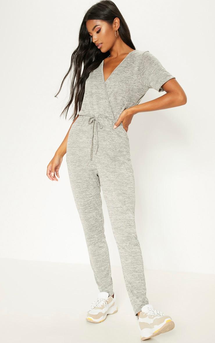 Combinaison en tricot gris