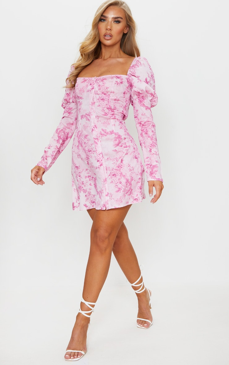 Pink Floral Print Button Through Puff Sleeve Shift Dress 3