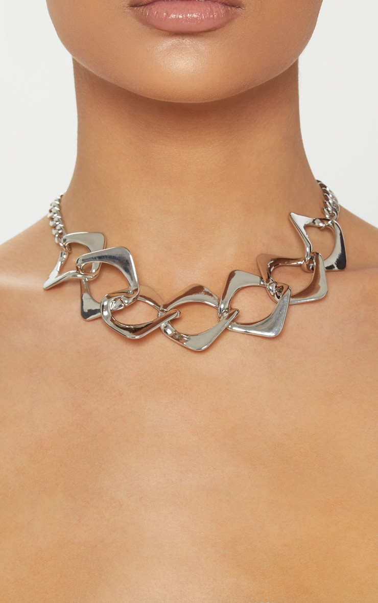 Silver Chunky Link Chain Necklace 2