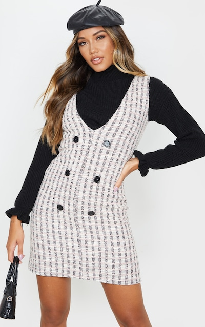 Pink Tweed Button Front Shift Dress