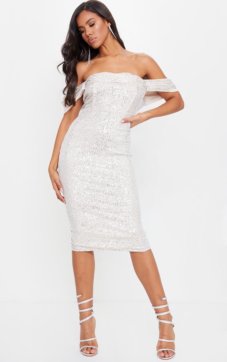 Silver Sequin Drape Bardot Midi Dress 3