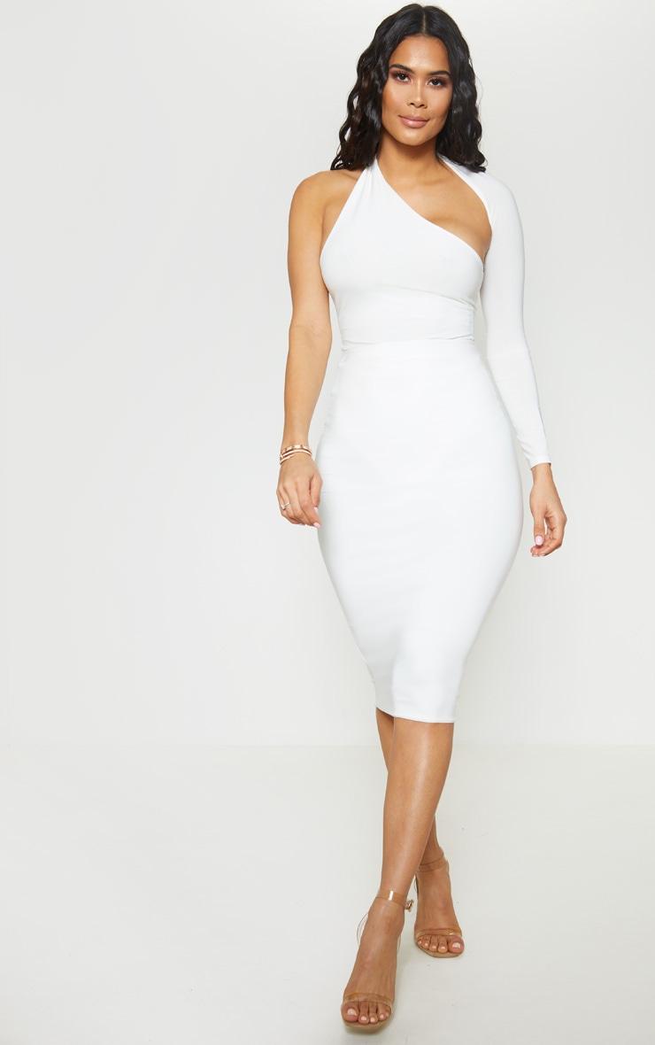 White One Shoulder Asymmetric Bodysuit 5