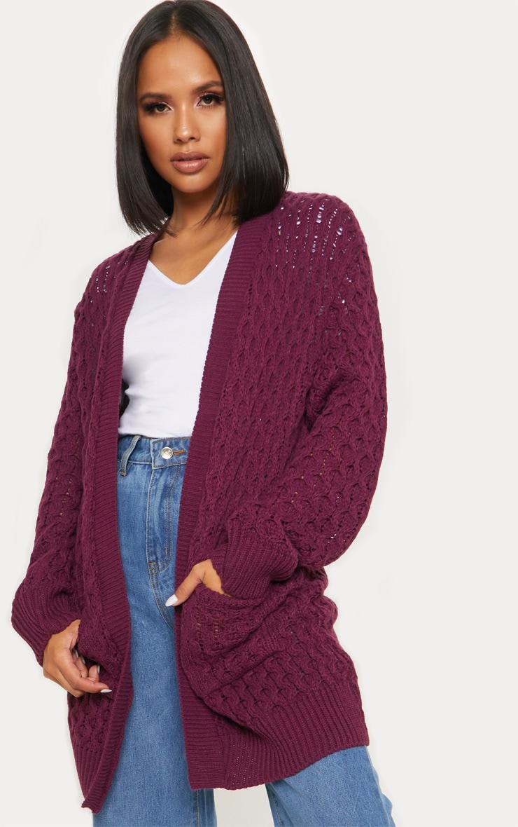 Aubergine Chunky Knitted Midi Cardigan