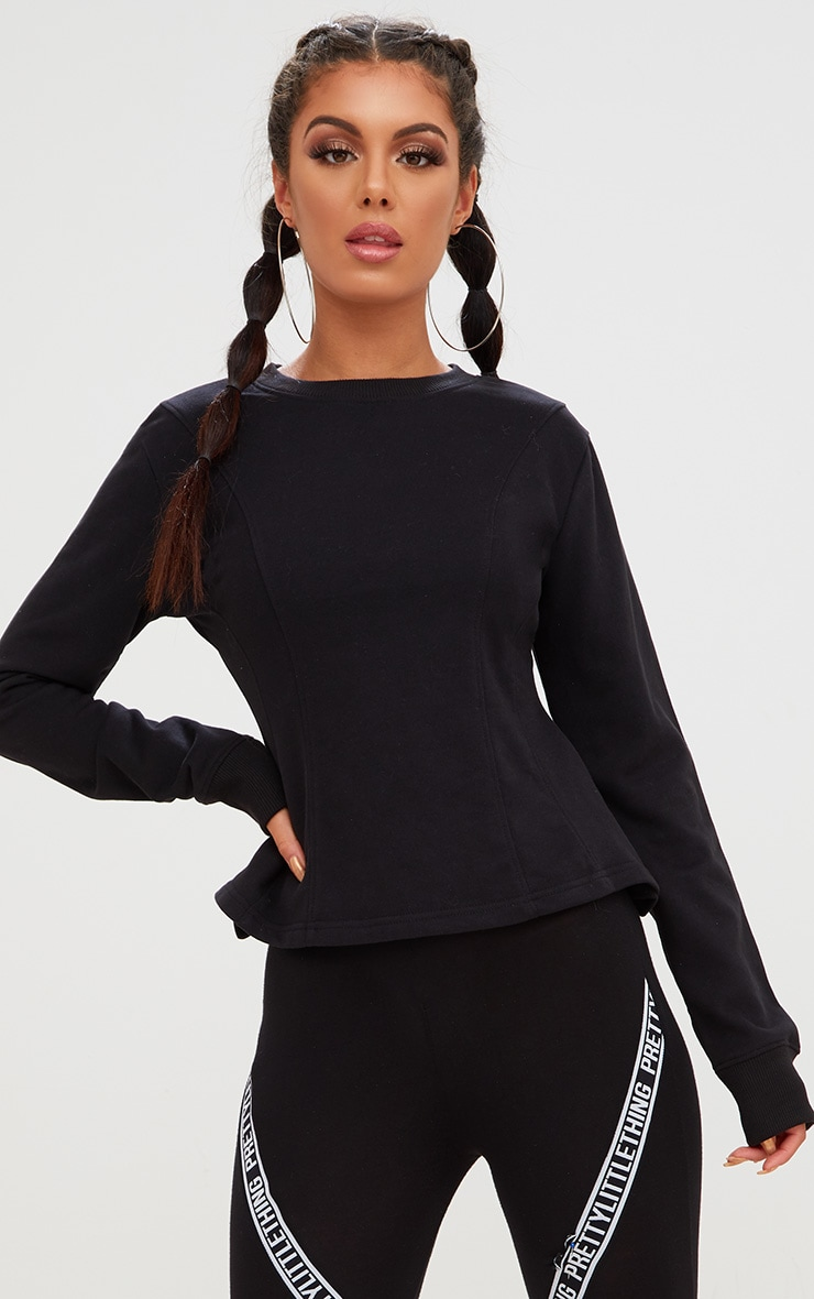 Black Corset Seam Detail Sweater 1