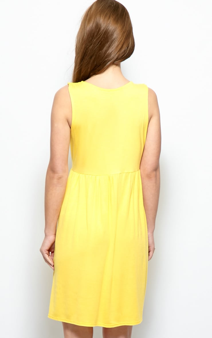 Kirsten Yellow Sleeveless Smock Dress  4