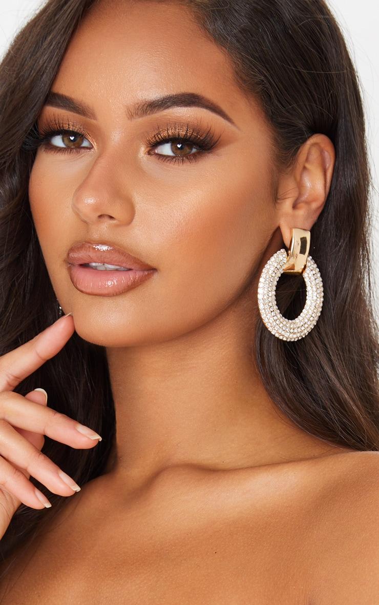 Gold Diamante Oval Large Door Knocker Earrings 1