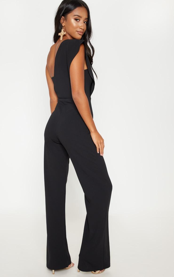 Petite Black Drape One Shoulder Jumpsuit 2