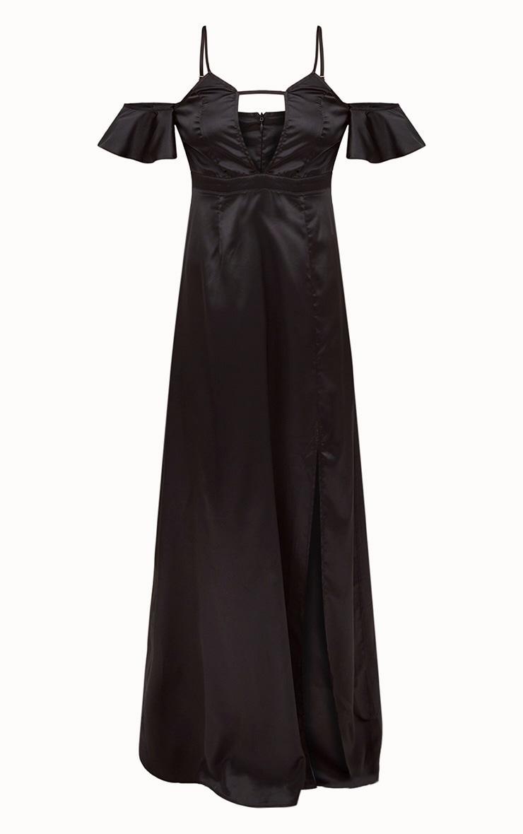 Black Frill Sleeve Split Detail Satin Maxi Dress 3