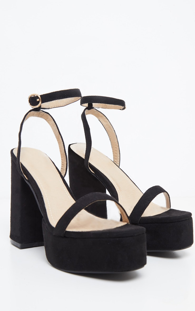 Black Square Toe Platform Sandal 3