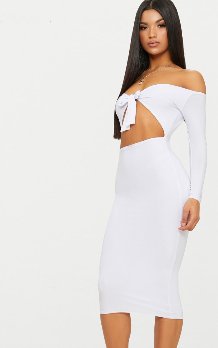 White Double Layer Slinky Tie Detail Bardot Midi Dress 3