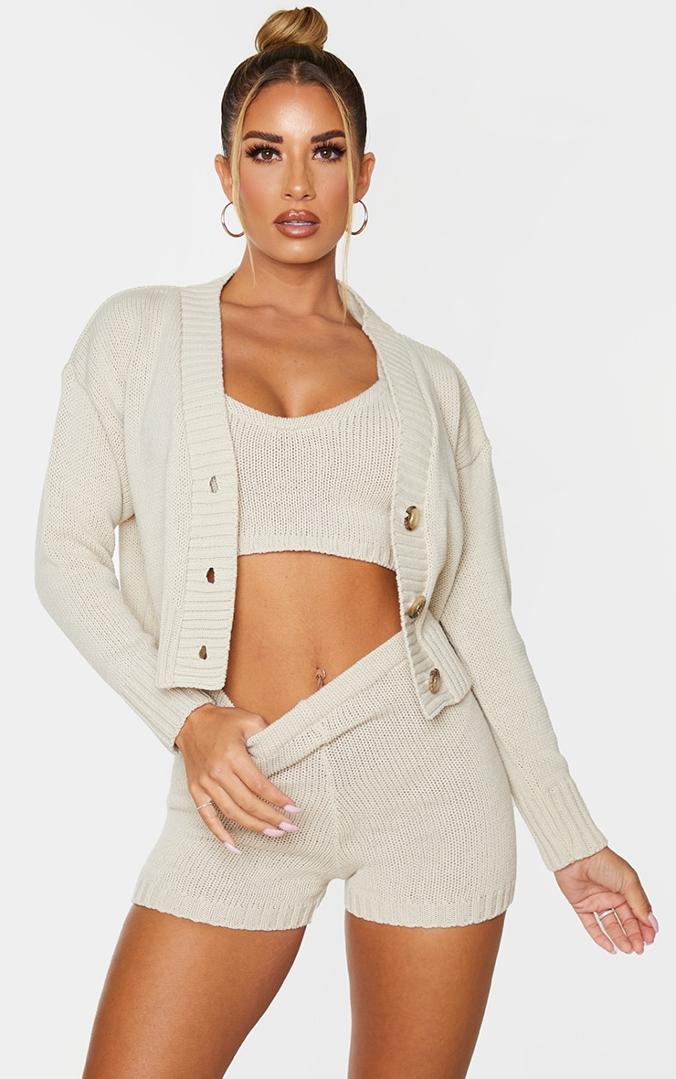Cream Knitted Button Crop Cardigan 1