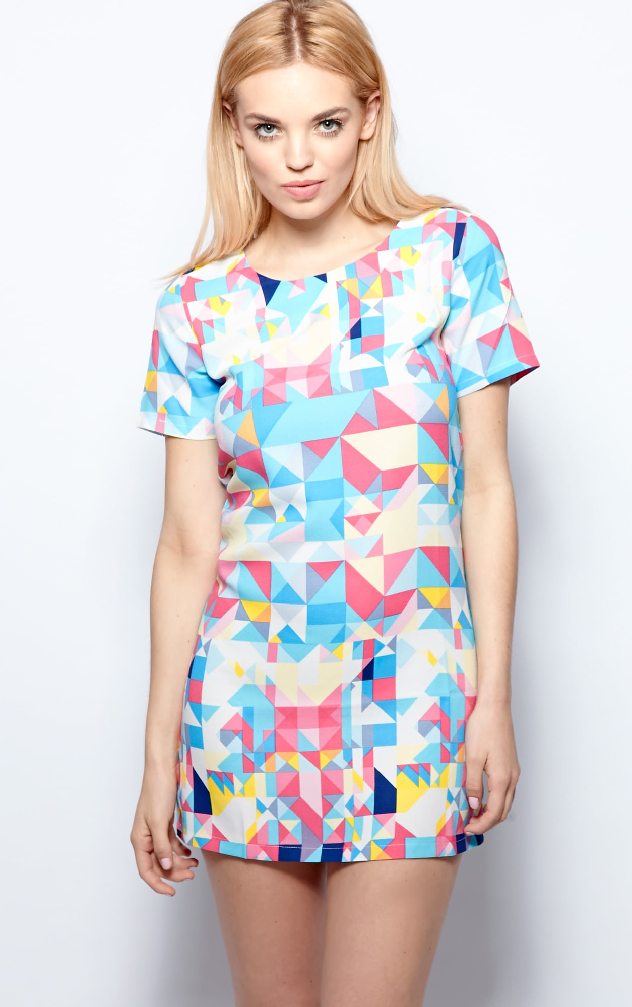Daniela Blue Abstract Print Shift Dress 1