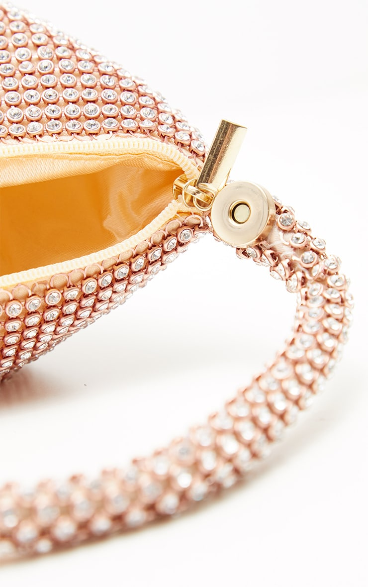 Rose Gold Diamante Chainmail Pouch 4