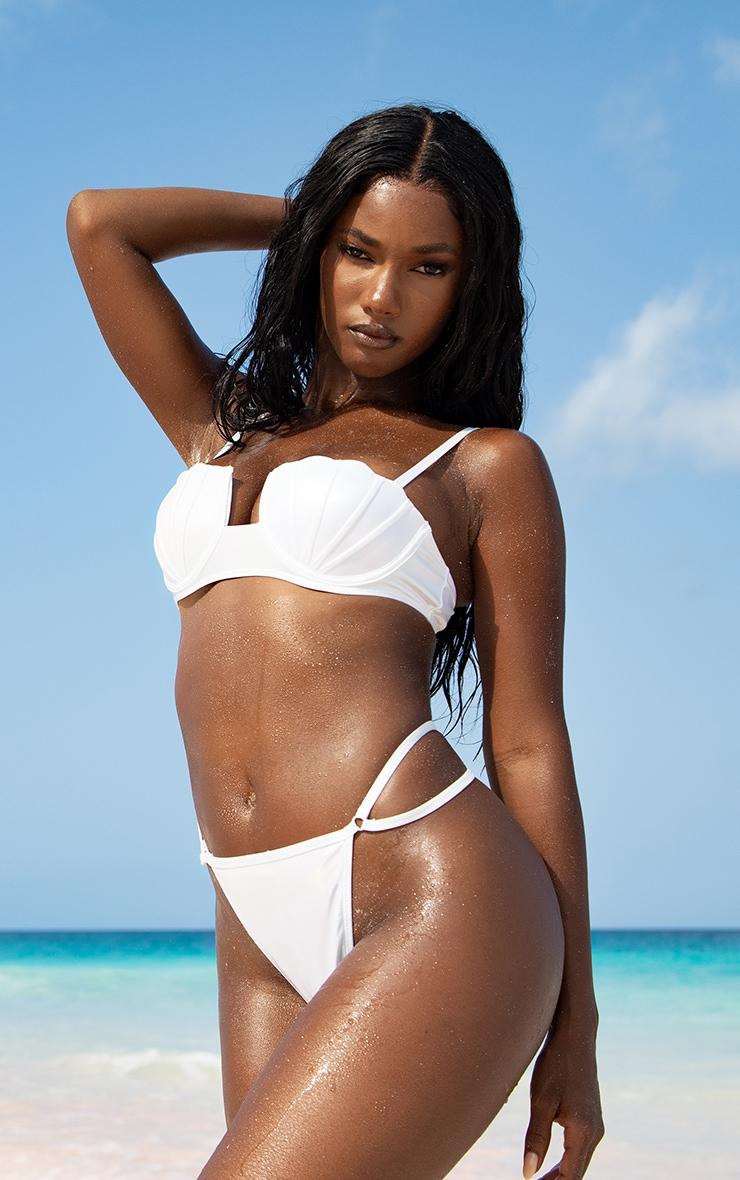White Pearlescent Shell Cupped Bikini Top 2