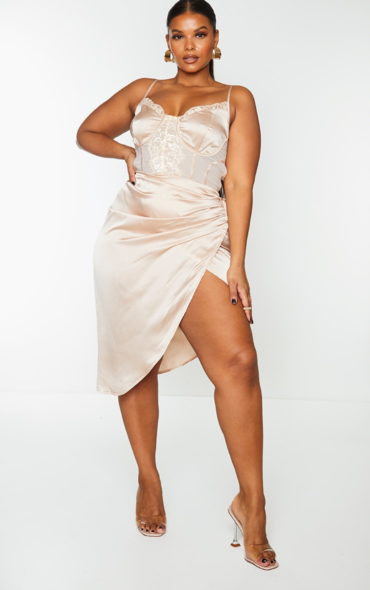 Plus Champagne Lace Insert Cup Detail Ruched Side Midi Dress 3