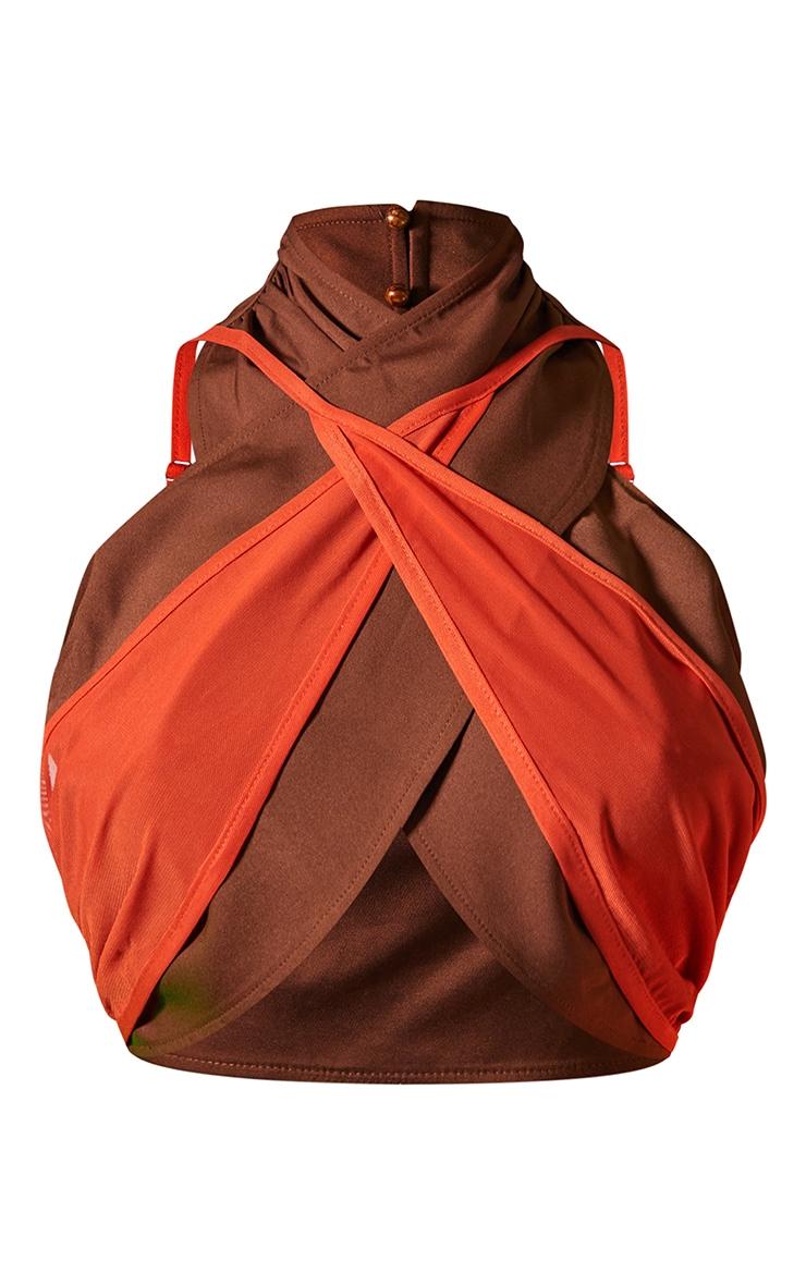 Chocolate Woven Mesh Overlay Cross Front Underbust Halterneck Crop Top 5