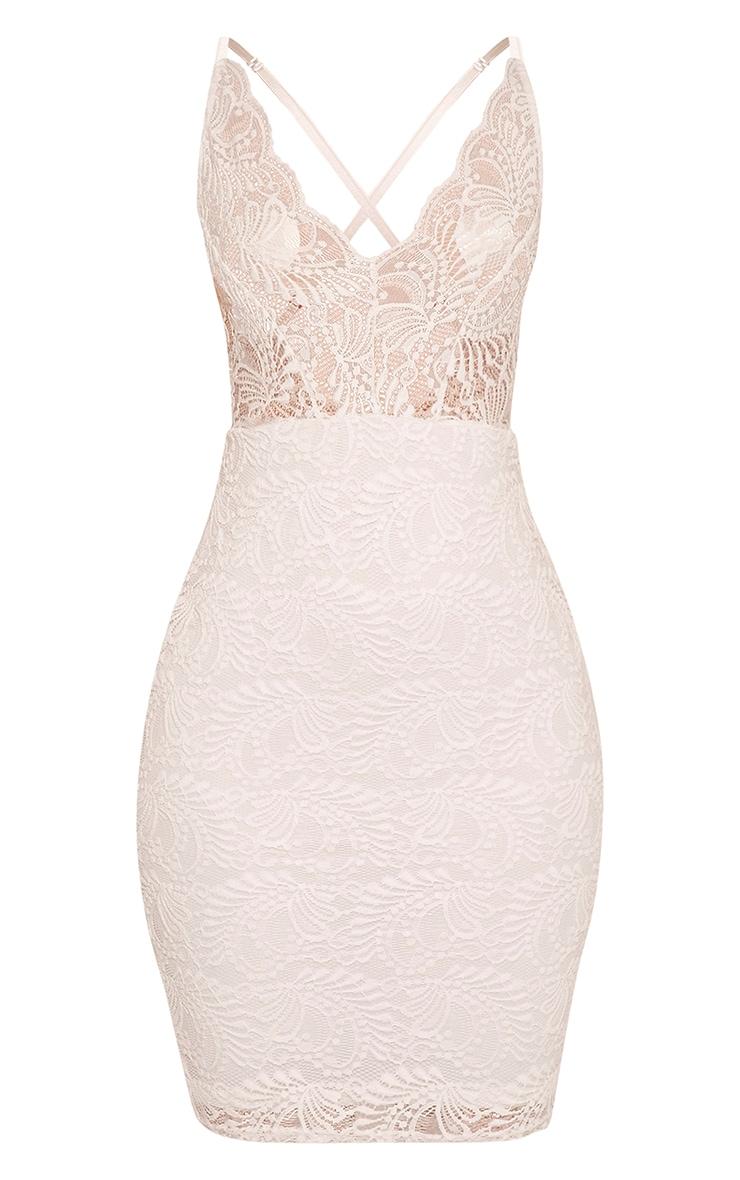 Lucila White Sheer Lace Bodycon Dress 3