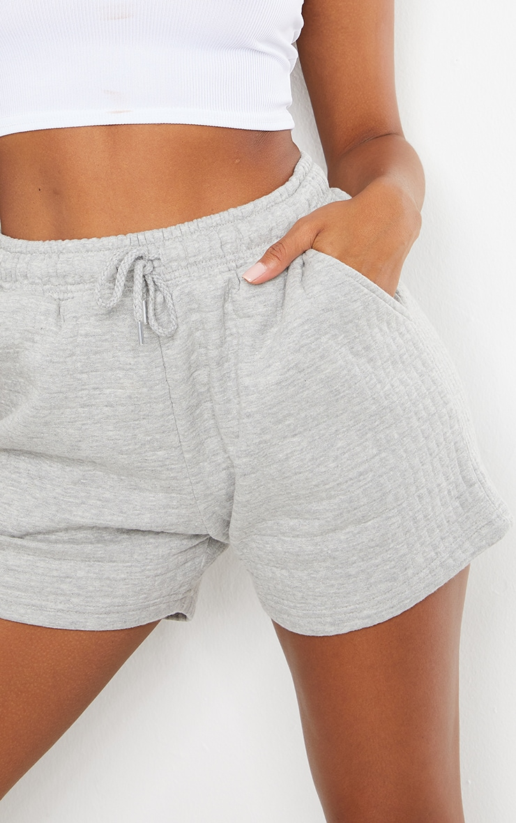 Grey Quilted Longline Shorts 5