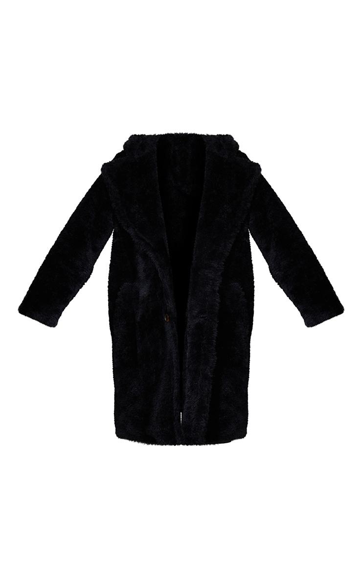 Black Teddy Faux Fur Hooded Coat 5