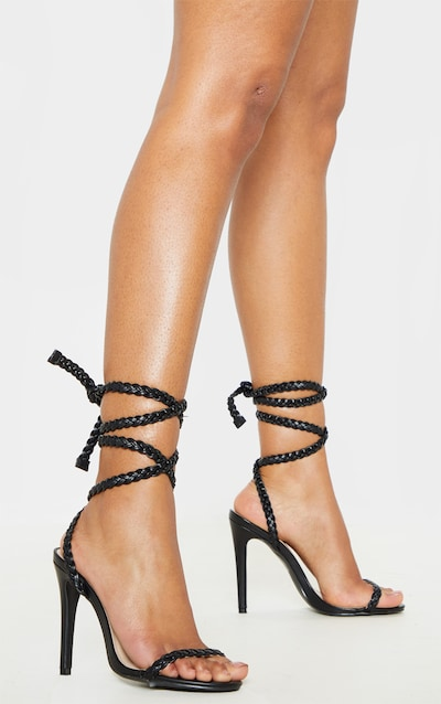 26bc9069aad Black Plaited Lace Up Ankle Tie Sandal
