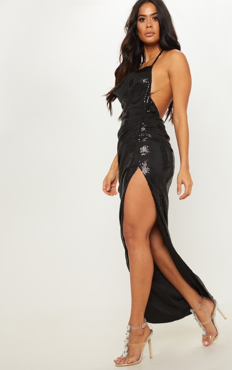 Black Sequin Cowl Neck Split Leg Maxi Dress 3