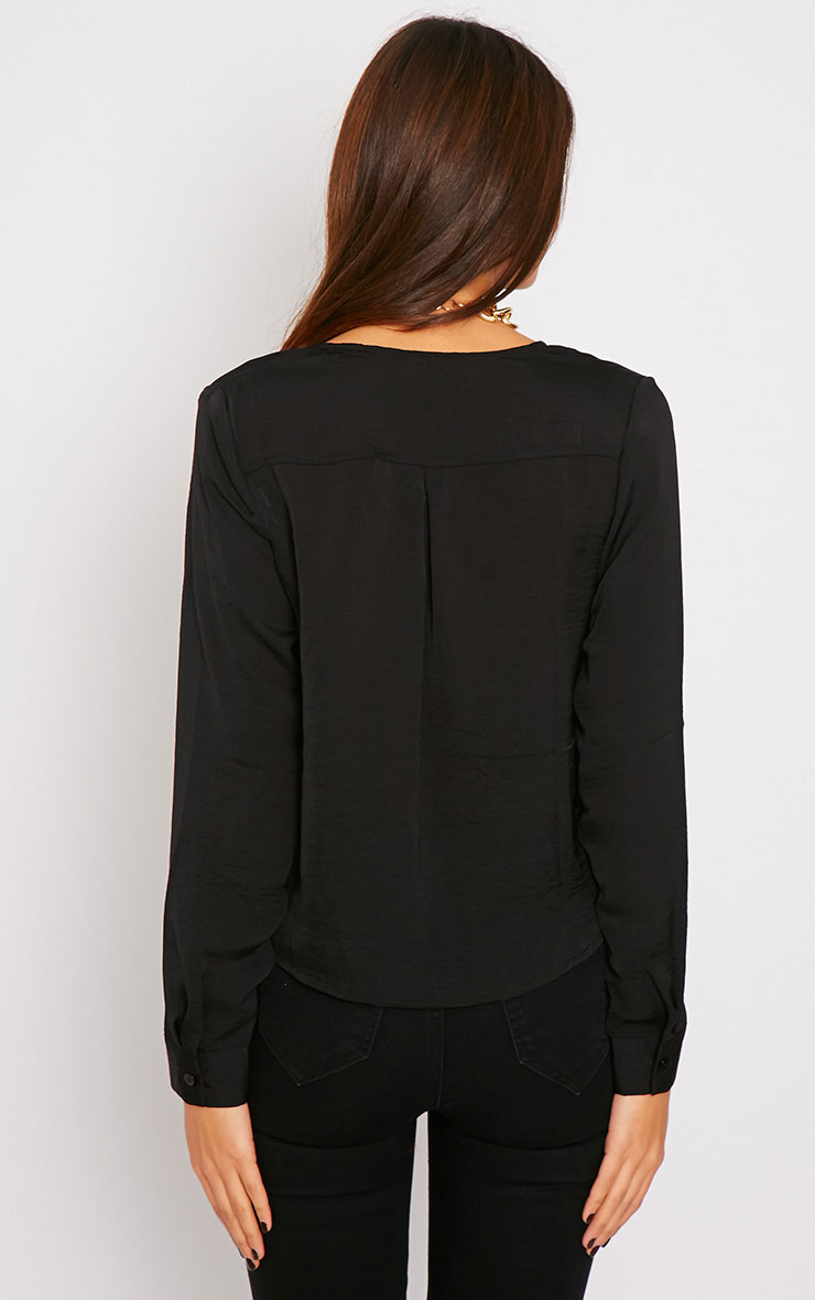 Ruby Black Silky Wrap Over Front Top  2