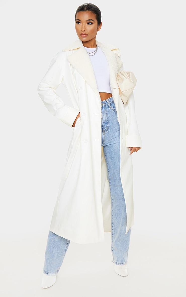 Cream PU Borg Trim Coat 1