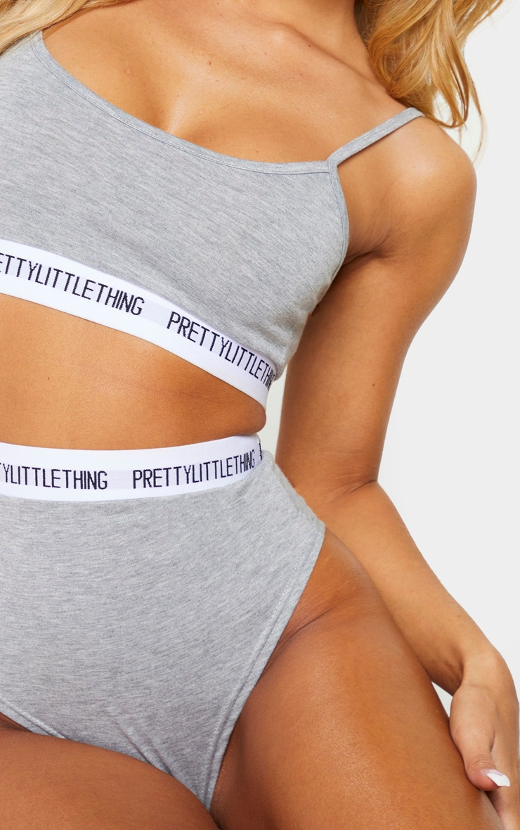 PRETTYLITTLETHING Grey High Waist Lingerie Set 5