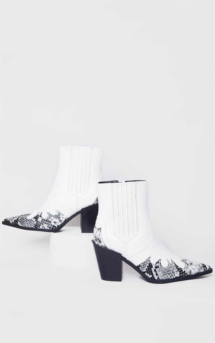 White Contrast Western Ankle Boots 2
