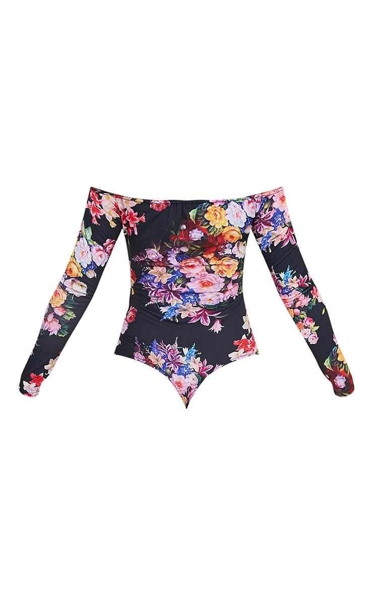 Fauna Black Bardot Multi Floral Print Thong Bodysuit 4
