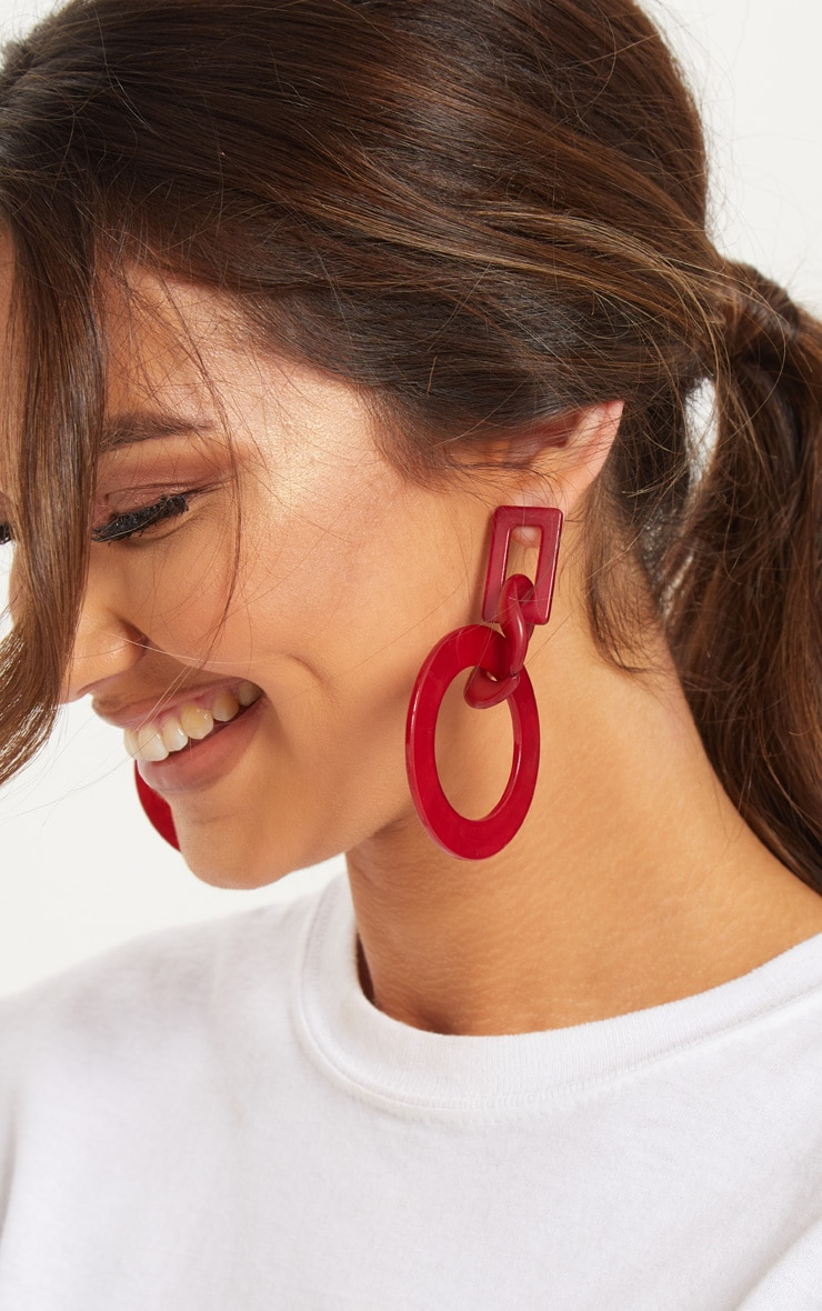 Red Resin Chunky Link Chain Statement Earrings