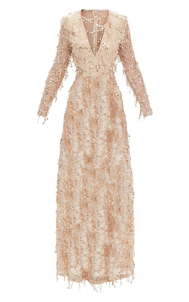 Valentina robe maxi or à manches longues et sequins 3