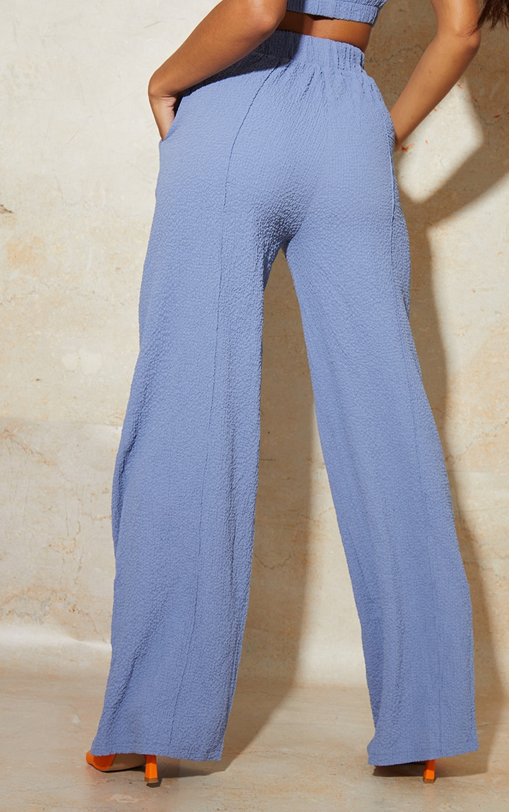 Blue Textured Elastic Waist Wide Leg Pants 3