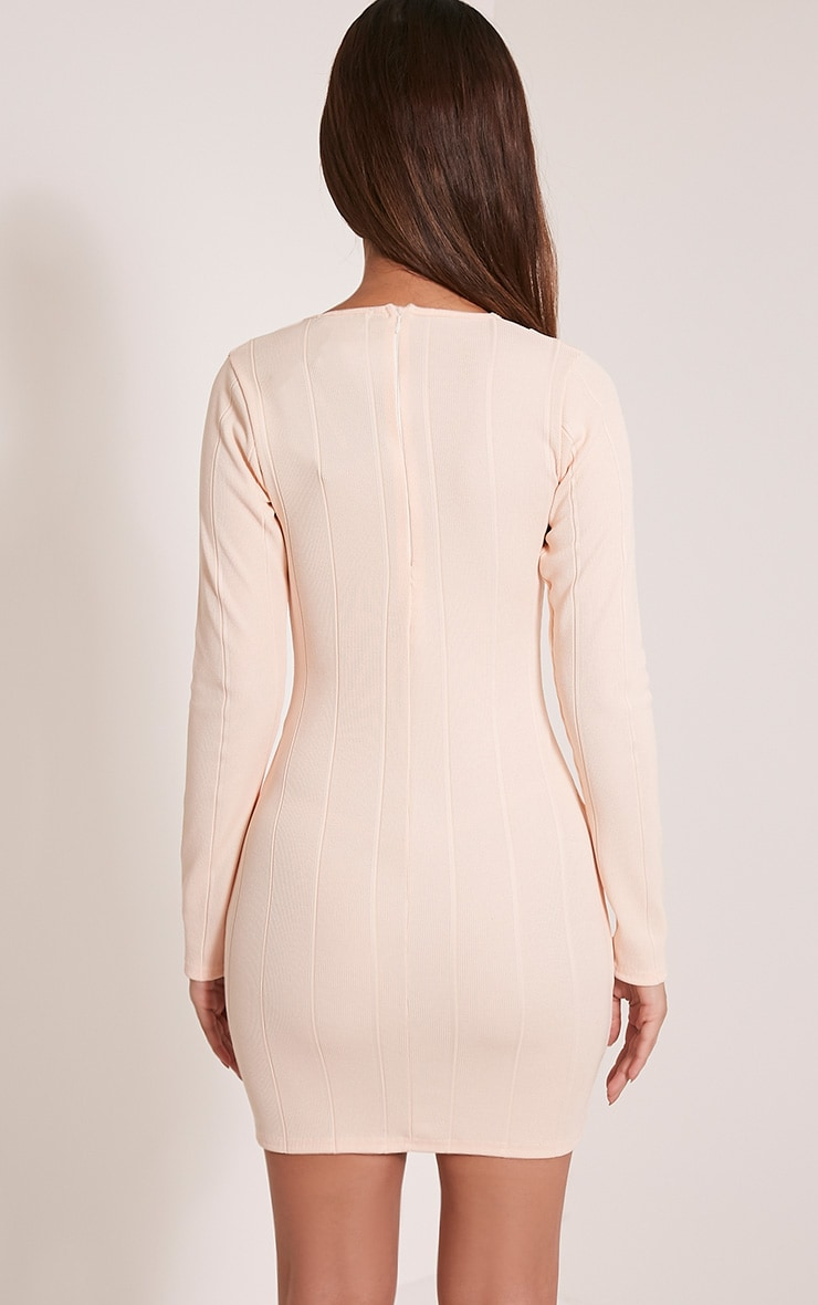 Nya Nude Lace Up Bandage Bodycon Dress 5